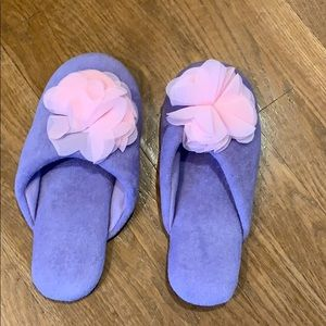 Slippers-purple Chiffon With pink flower